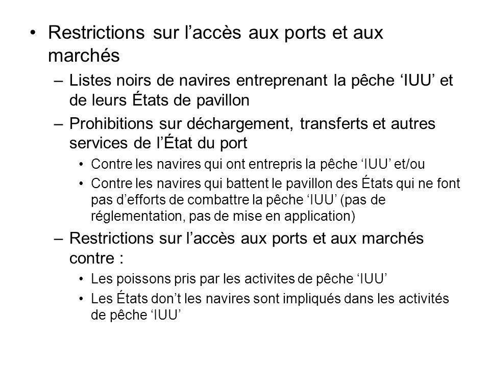 Restrictions sur l'accès aux ports et aux marchés