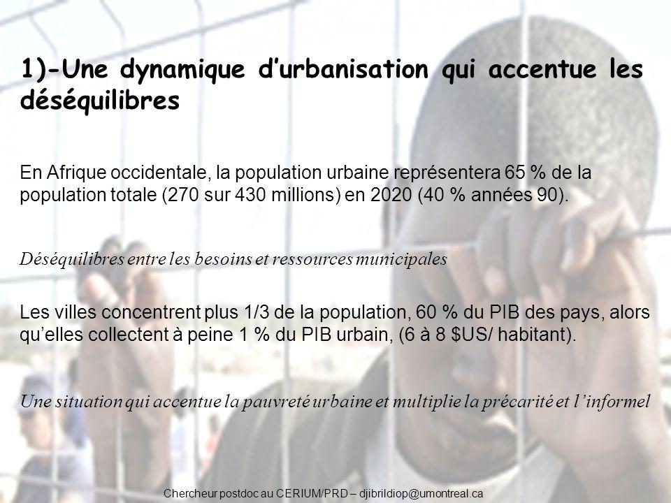 1)-Une dynamique d'urbanisation qui accentue les déséquilibres