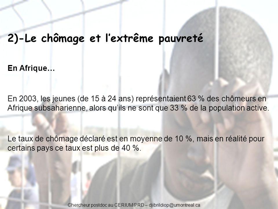 2)-Le chômage et l'extrême pauvreté