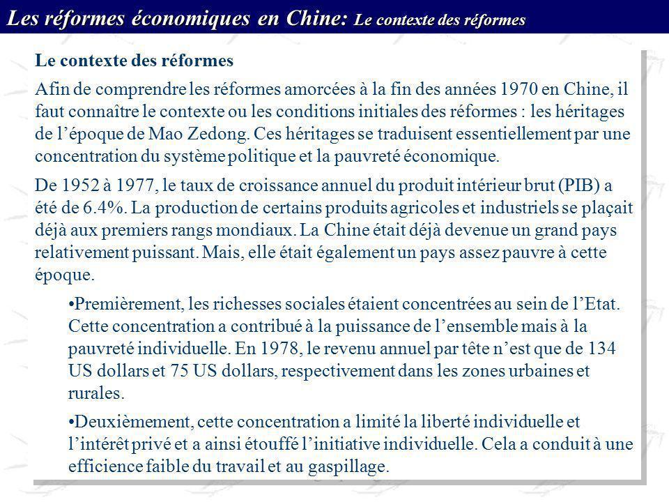 Les réformes économiques en Chine: Le contexte des réformes