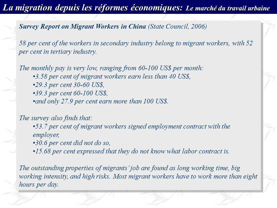 La migration depuis les réformes économiques: Le marché du travail urbaine