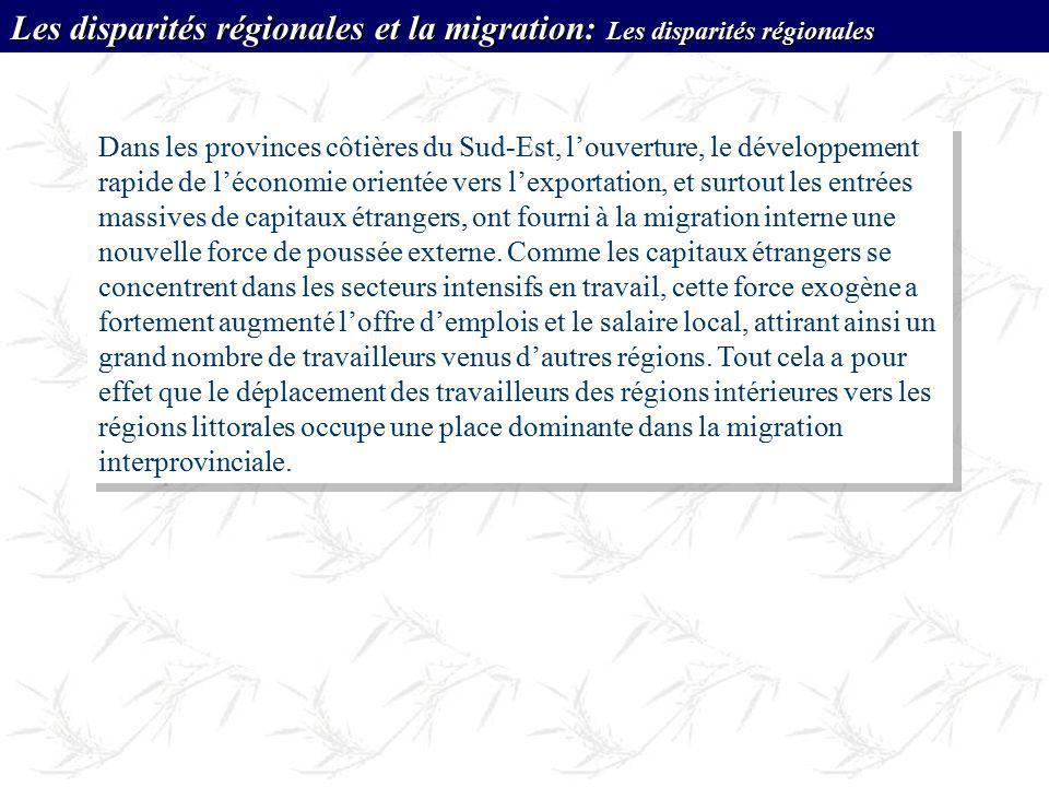 Les disparités régionales et la migration: Les disparités régionales
