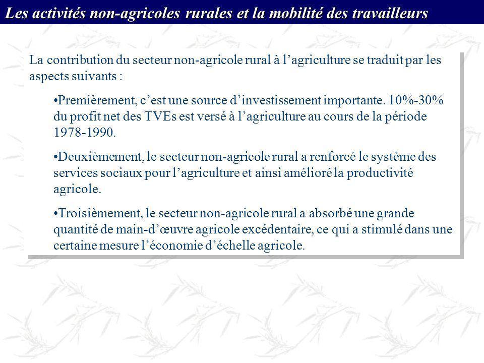 Les activités non-agricoles rurales et la mobilité des travailleurs