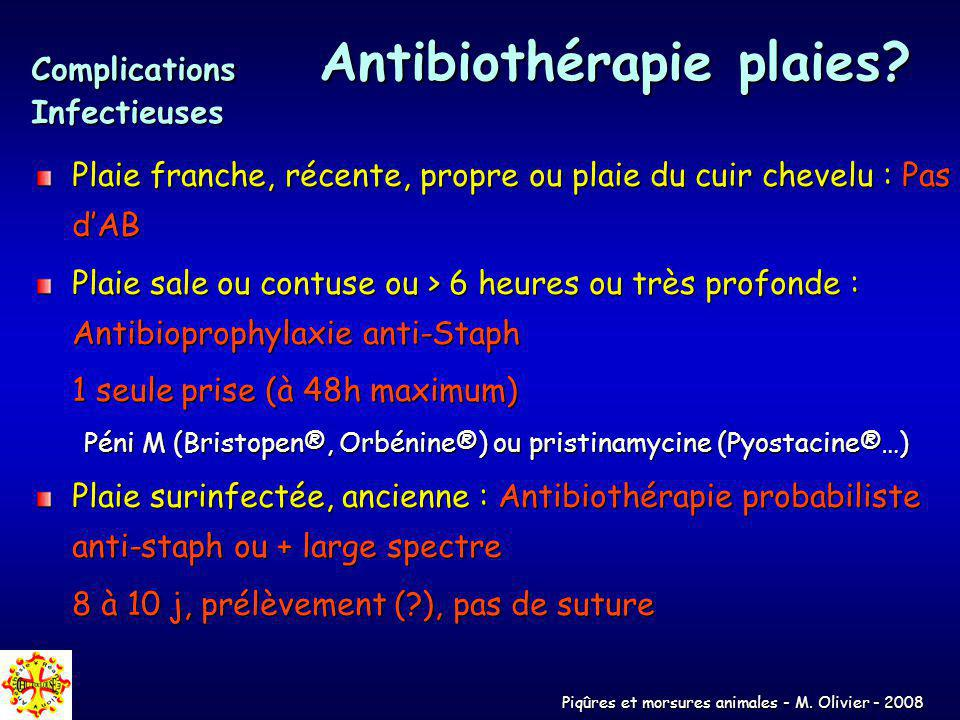 Complications Antibiothérapie plaies Infectieuses