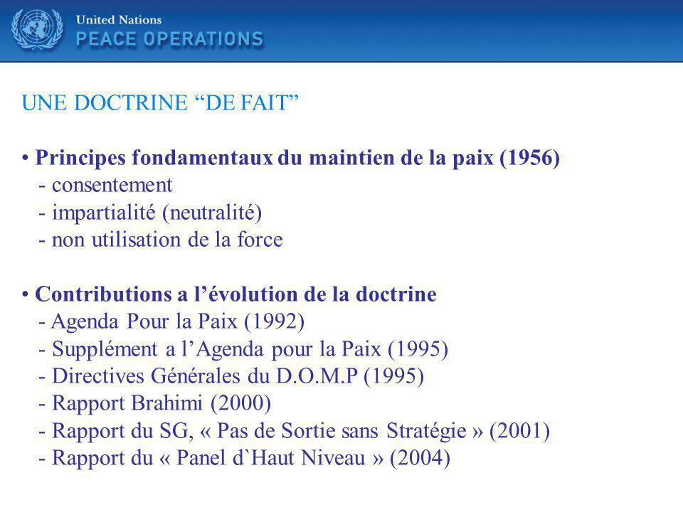 UNE DOCTRINE DE FAIT Principes fondamentaux du maintien de la paix (1956) - consentement. - impartialité (neutralité)
