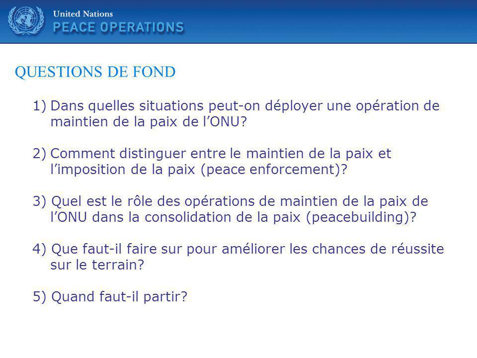 QUESTIONS DE FOND Dans quelles situations peut-on déployer une opération de maintien de la paix de l'ONU