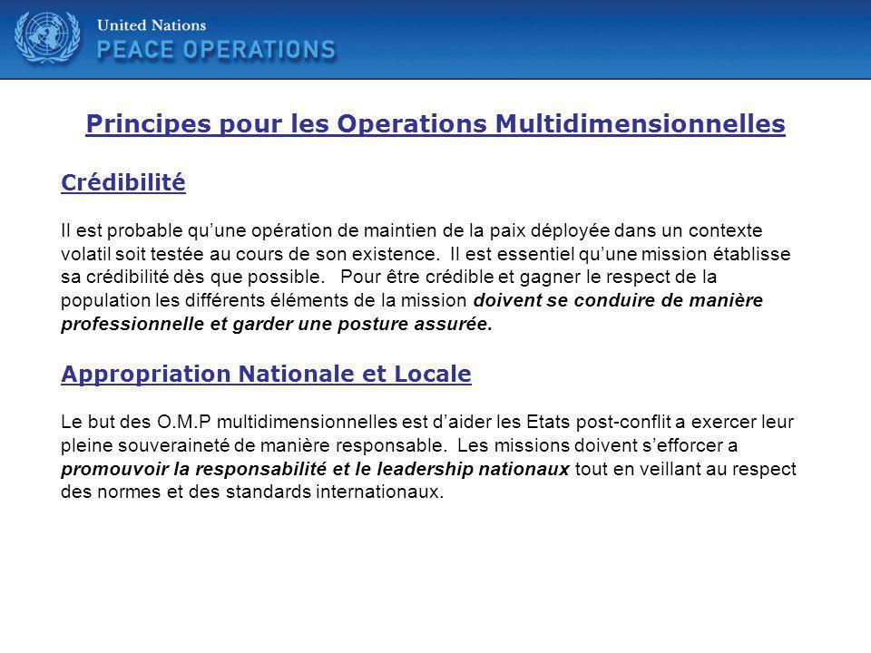 Principes pour les Operations Multidimensionnelles