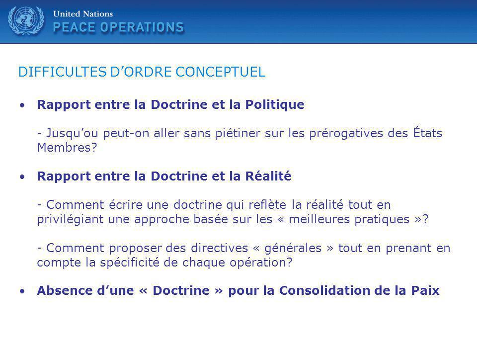 DIFFICULTES D'ORDRE CONCEPTUEL