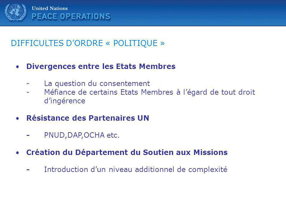 DIFFICULTES D'ORDRE « POLITIQUE »