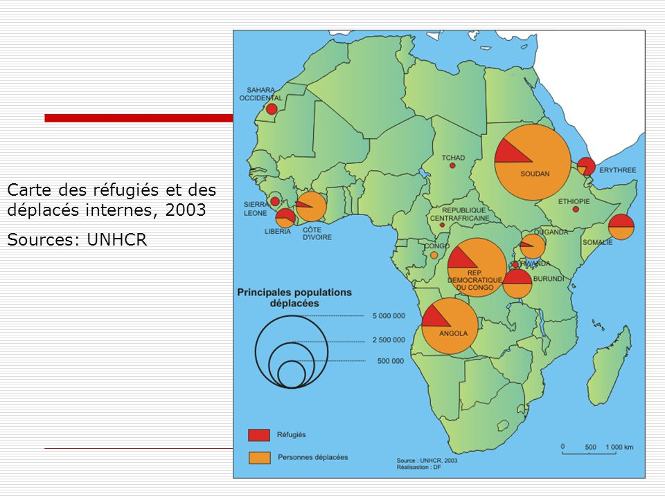 Carte des réfugiés et des déplacés internes, 2003