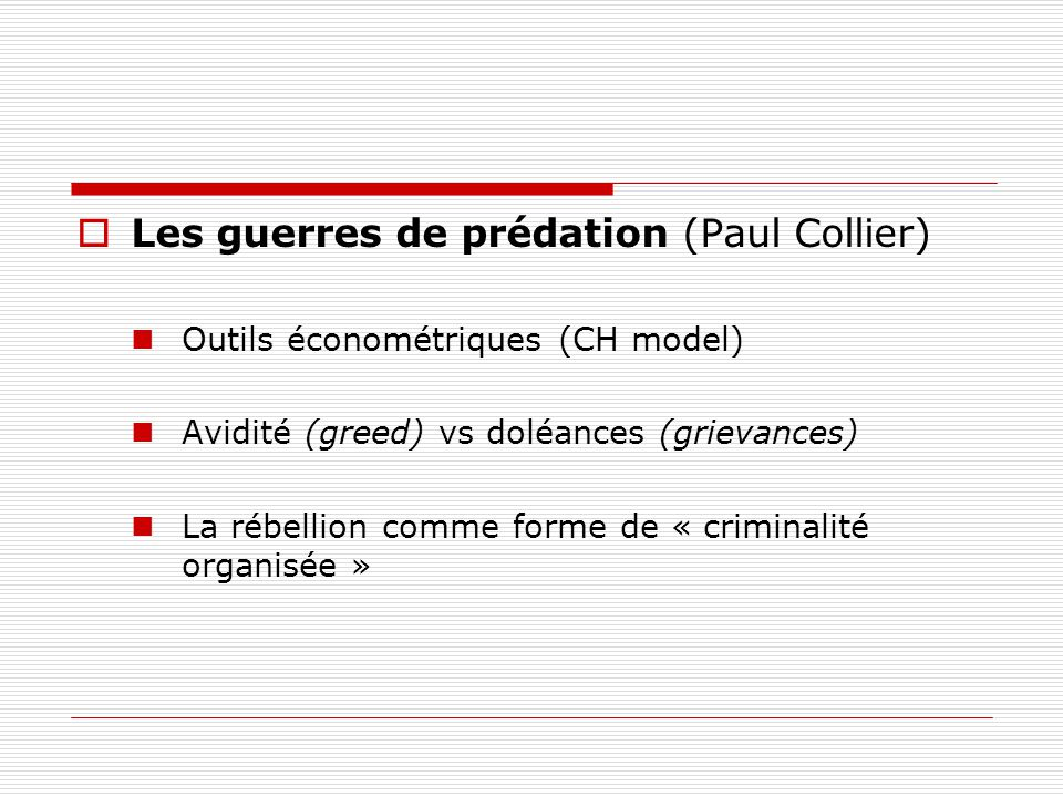 Les guerres de prédation (Paul Collier)