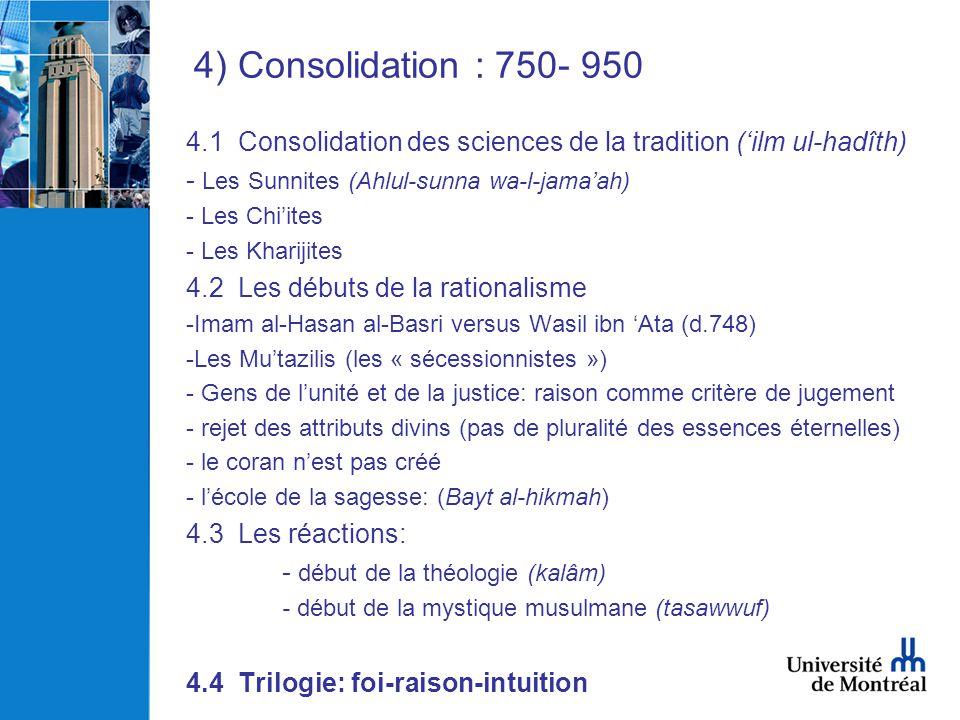 4) Consolidation : 750- 950 4.1 Consolidation des sciences de la tradition ('ilm ul-hadîth) Les Sunnites (Ahlul-sunna wa-l-jama'ah)