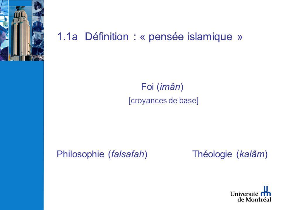 1.1a Définition : « pensée islamique »
