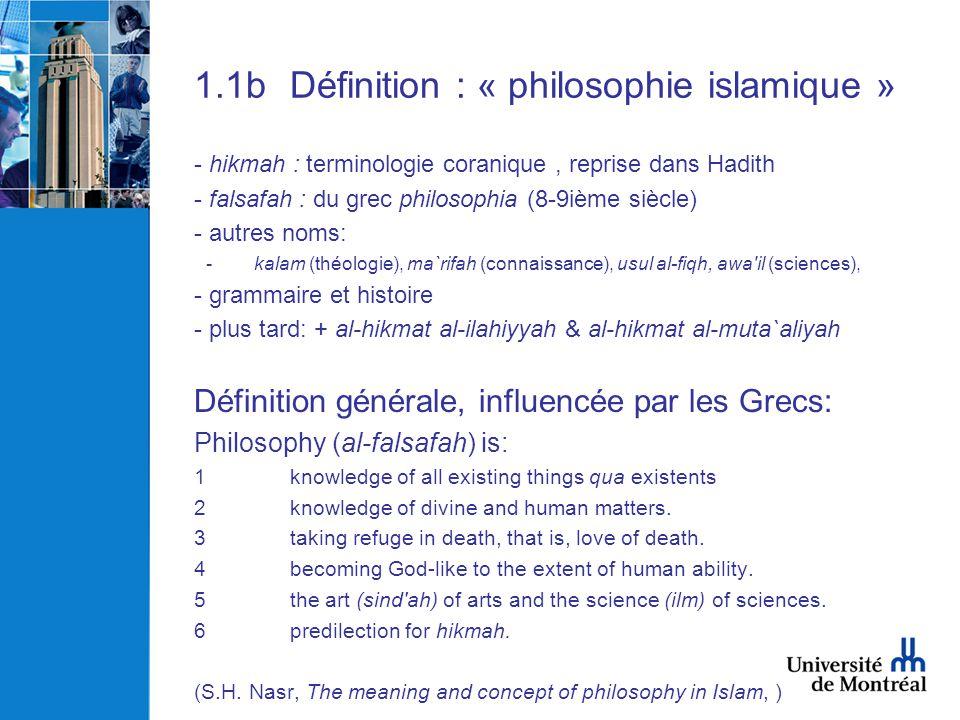 1.1b Définition : « philosophie islamique »