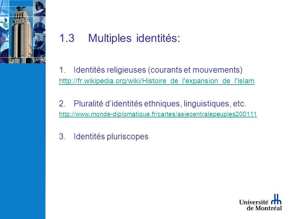 1.3 Multiples identités: Identités religieuses (courants et mouvements) http://fr.wikipedia.org/wiki/Histoire_de_l expansion_de_l islam.