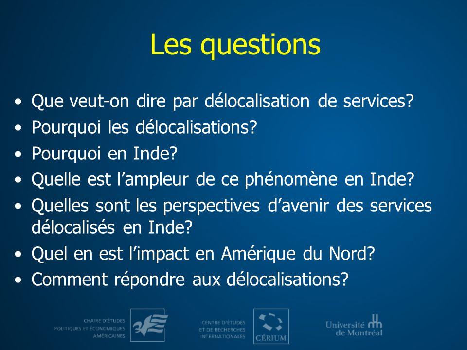 Les questions Que veut-on dire par délocalisation de services