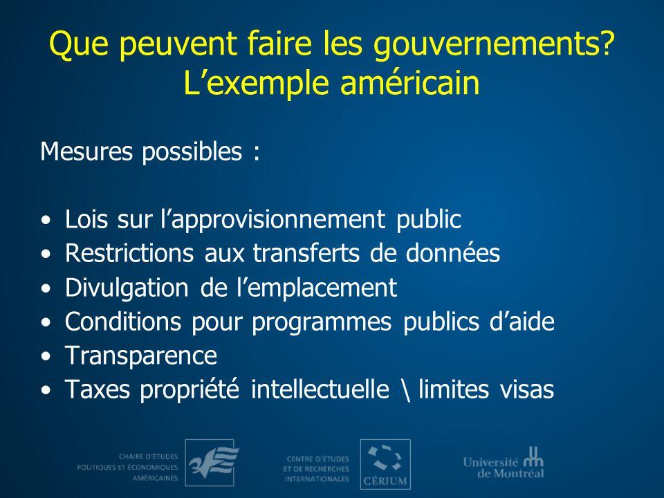 Que peuvent faire les gouvernements L'exemple américain