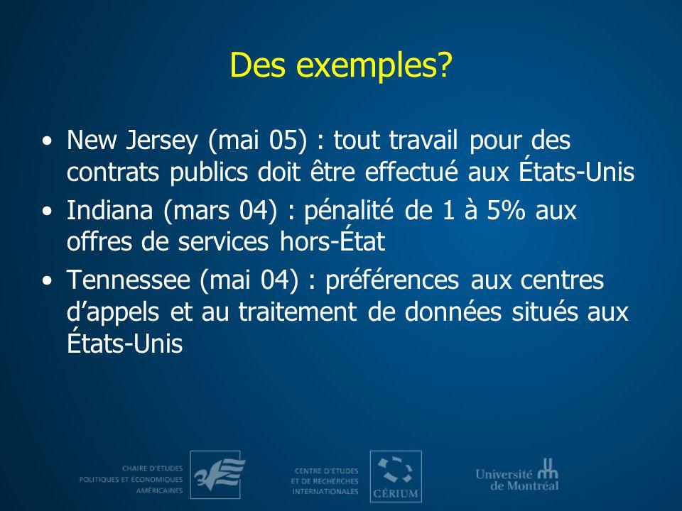 Des exemples New Jersey (mai 05) : tout travail pour des contrats publics doit être effectué aux États-Unis.