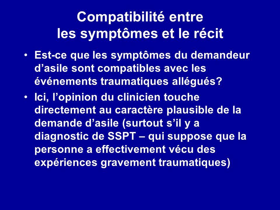 Compatibilité entre les symptômes et le récit