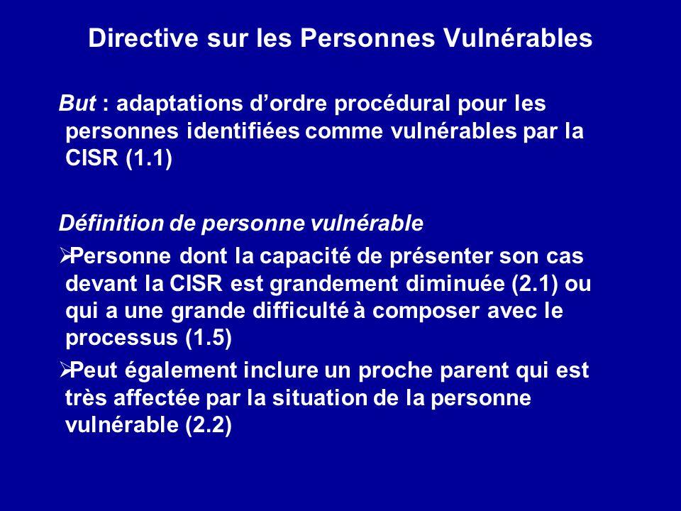 Directive sur les Personnes Vulnérables
