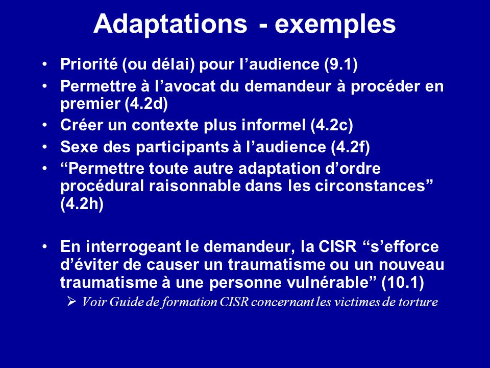 Adaptations - exemples