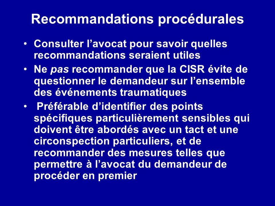 Recommandations procédurales
