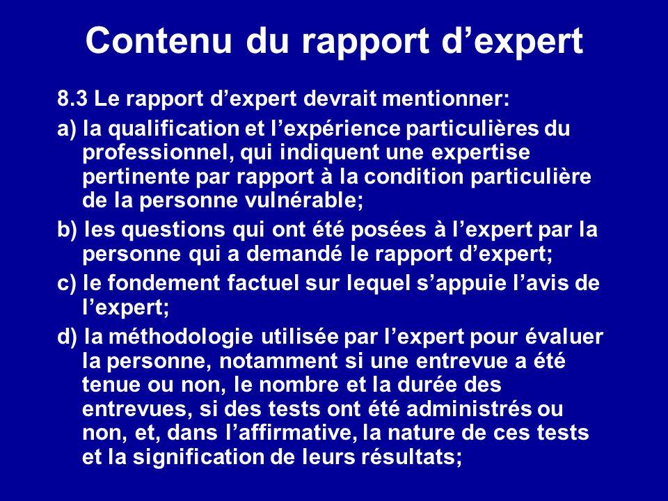 Contenu du rapport d'expert