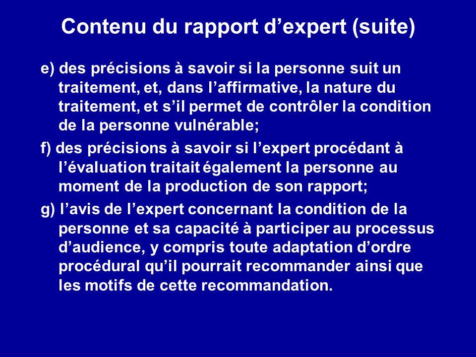 Contenu du rapport d'expert (suite)