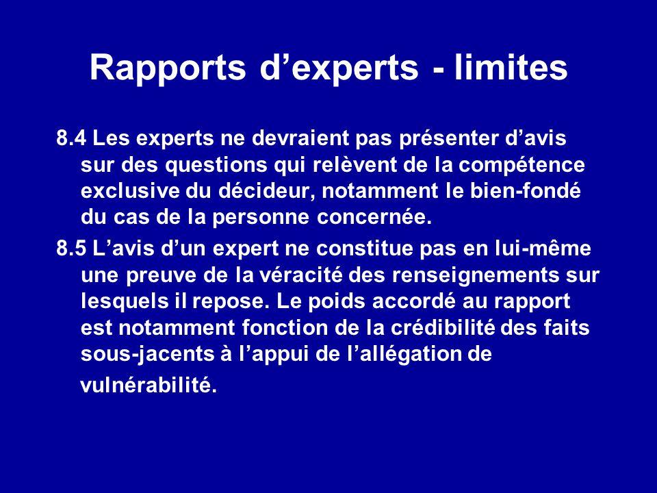 Rapports d'experts - limites
