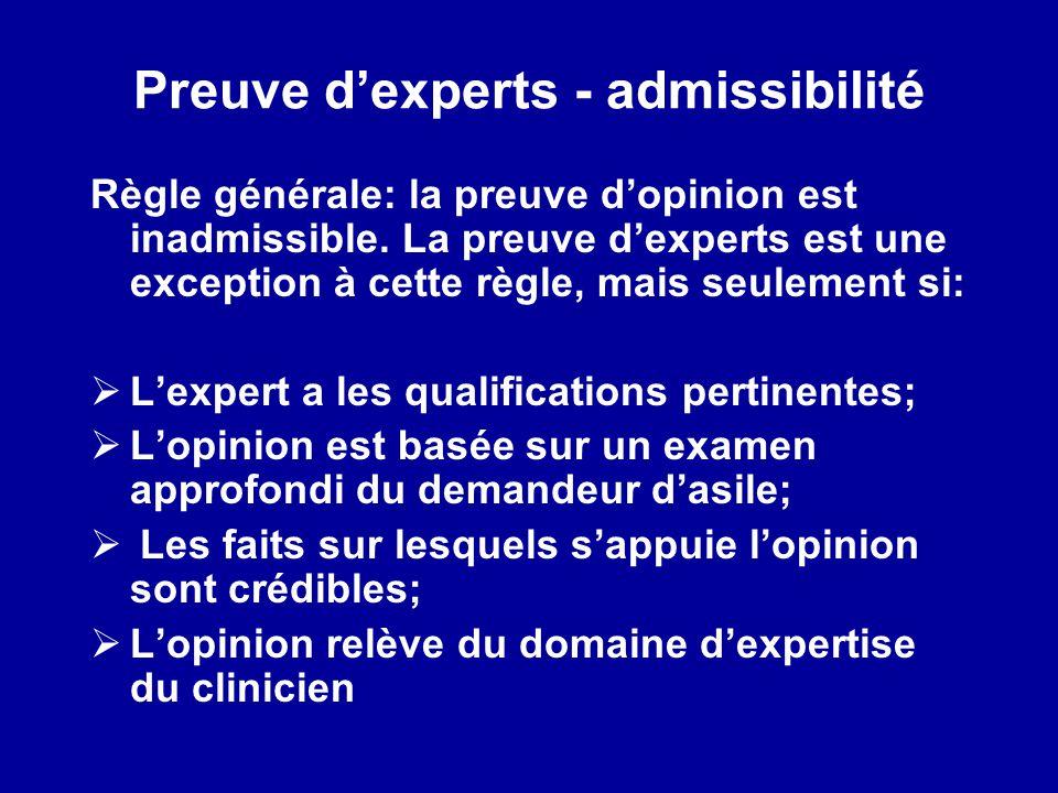 Preuve d'experts - admissibilité