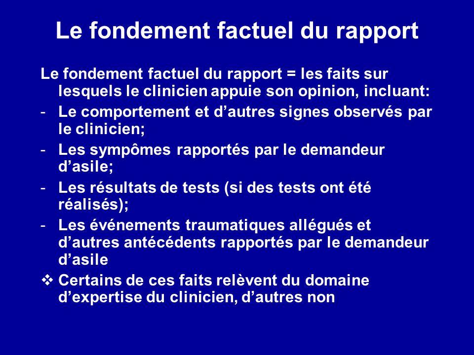 Le fondement factuel du rapport