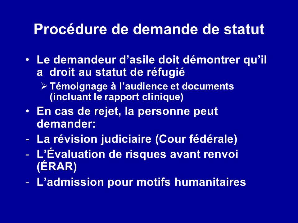 Procédure de demande de statut