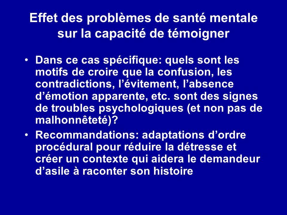 Effet des problèmes de santé mentale sur la capacité de témoigner