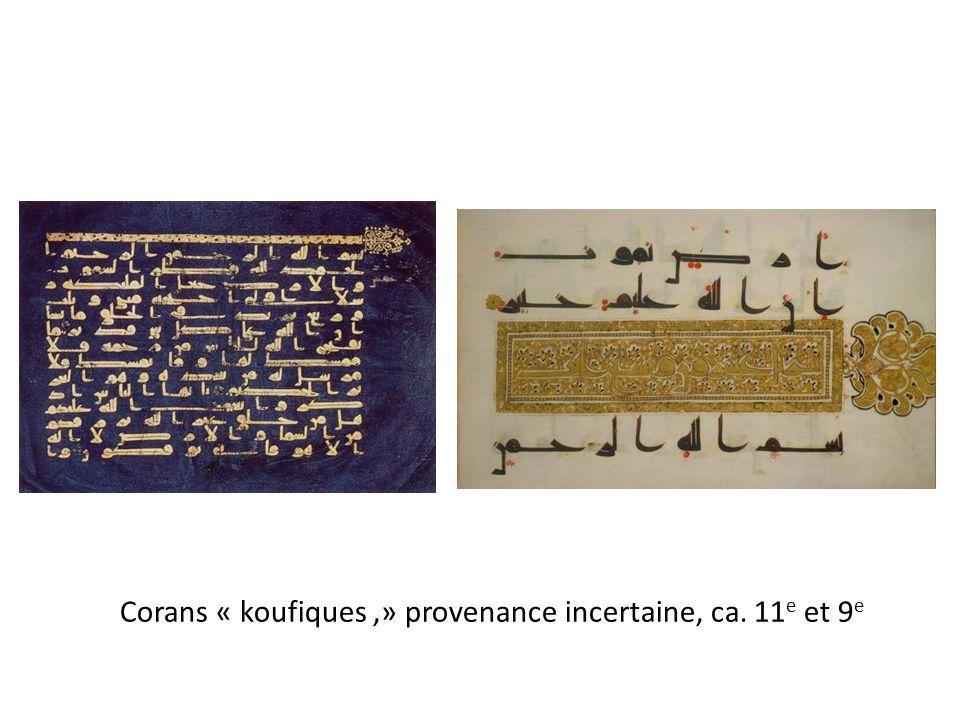 Corans « koufiques ,» provenance incertaine, ca. 11e et 9e