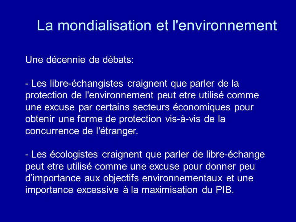 La mondialisation et l environnement