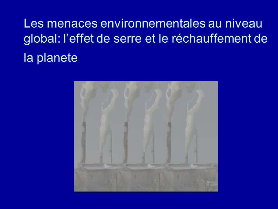 Les menaces environnementales au niveau global: l'effet de serre et le réchauffement de la planete