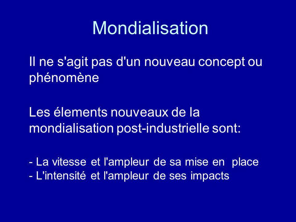 Mondialisation Il ne s agit pas d un nouveau concept ou phénomène