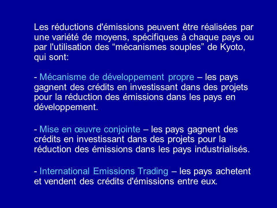 Les réductions d émissions peuvent être réalisées par une variété de moyens, spécifiques à chaque pays ou par l utilisation des mécanismes souples de Kyoto, qui sont: - Mécanisme de développement propre – les pays gagnent des crédits en investissant dans des projets pour la réduction des émissions dans les pays en développement.