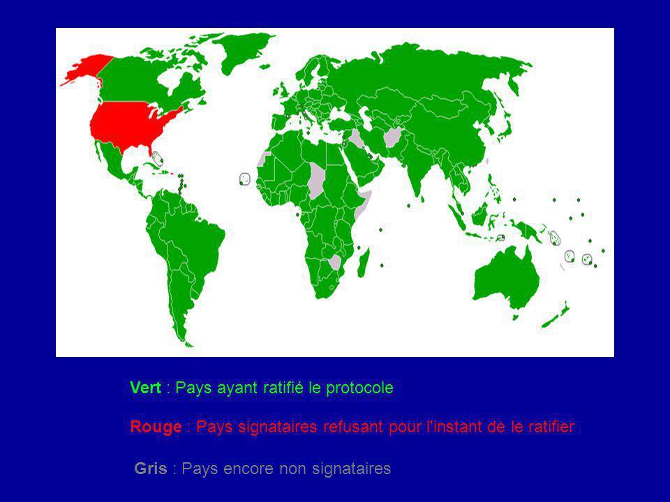 Vert : Pays ayant ratifié le protocole