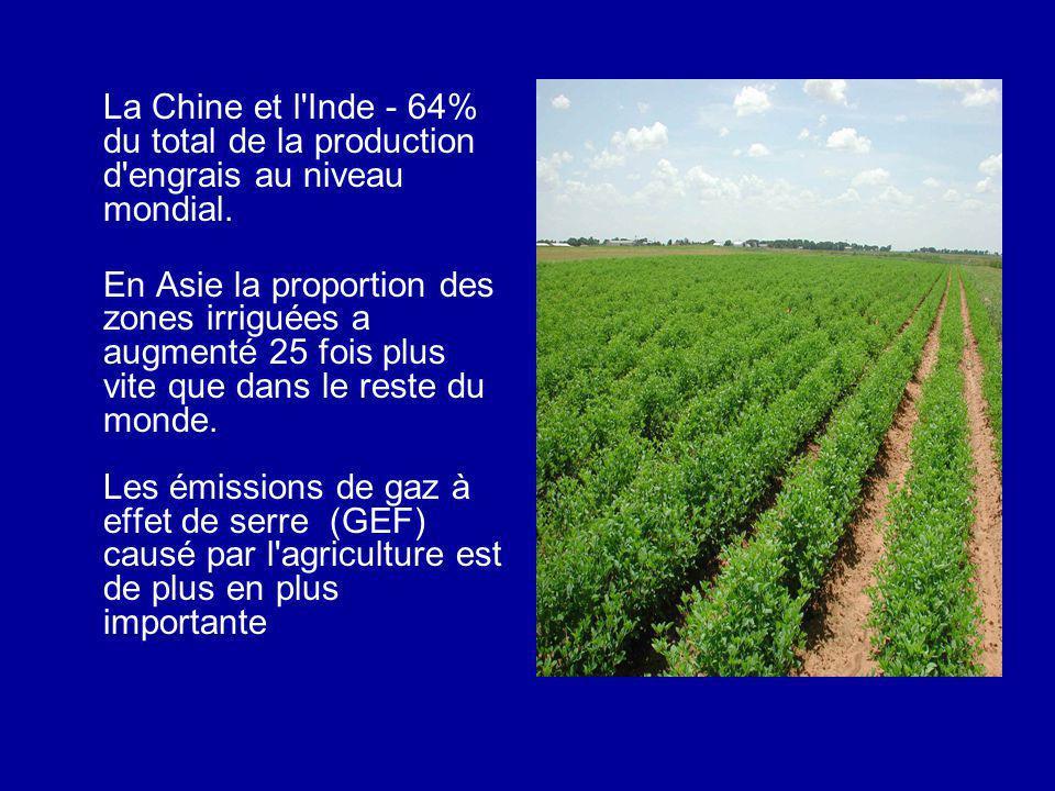 La Chine et l Inde - 64% du total de la production d engrais au niveau mondial.