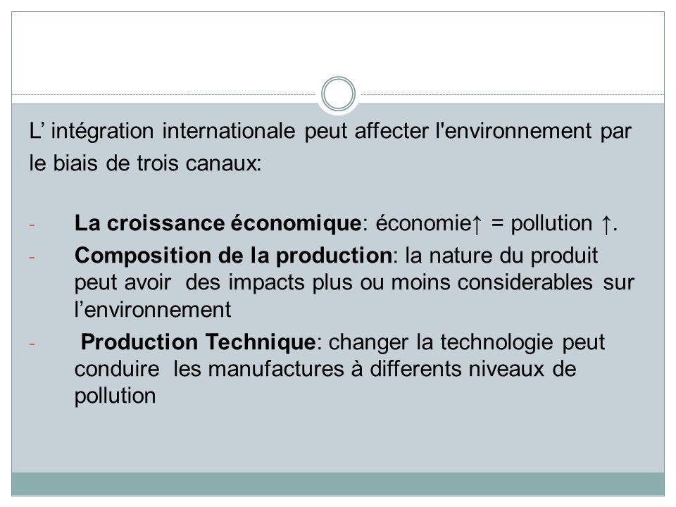 L' intégration internationale peut affecter l environnement par