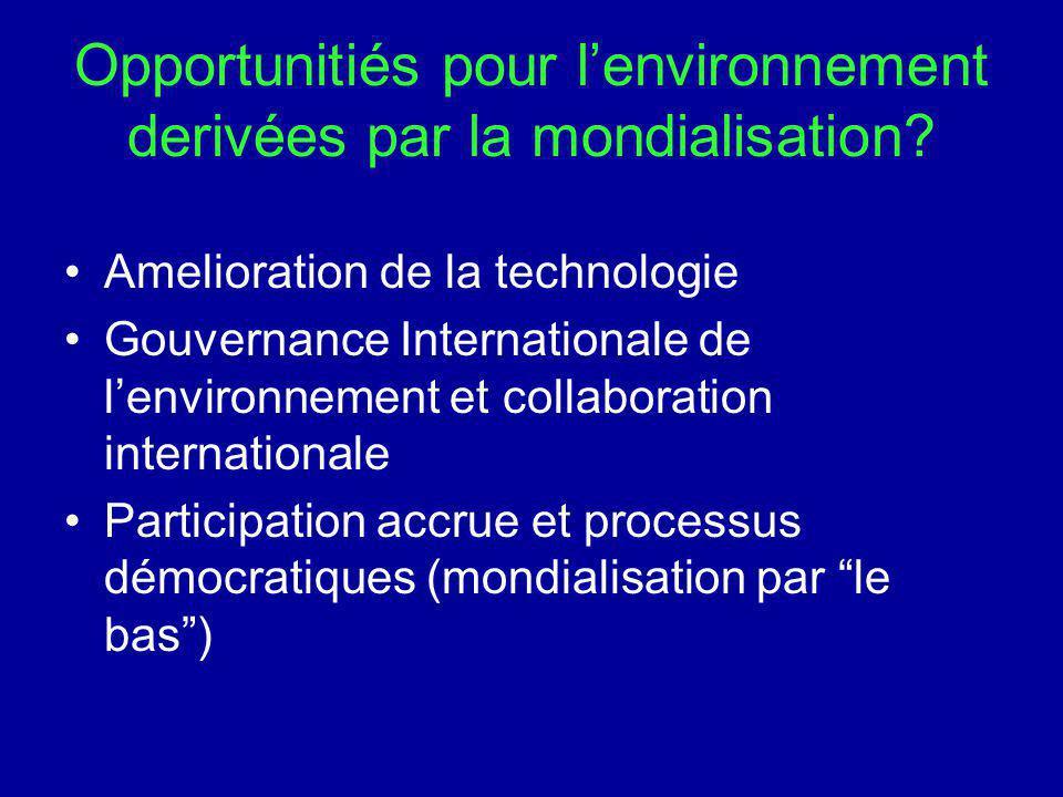 Opportunitiés pour l'environnement derivées par la mondialisation