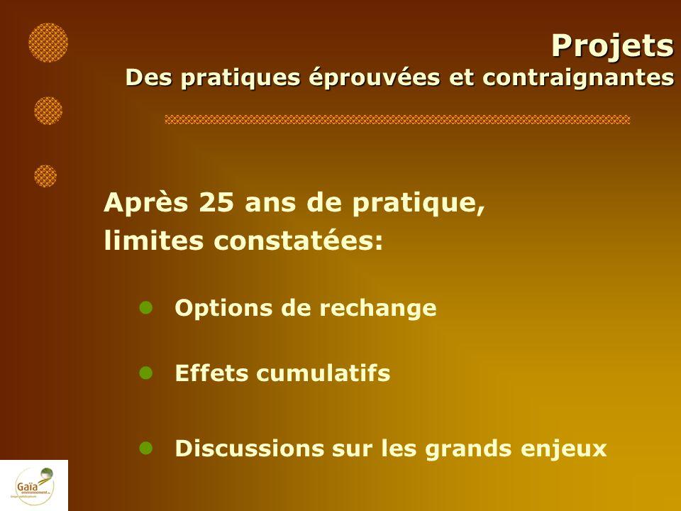 Projets Après 25 ans de pratique, limites constatées: