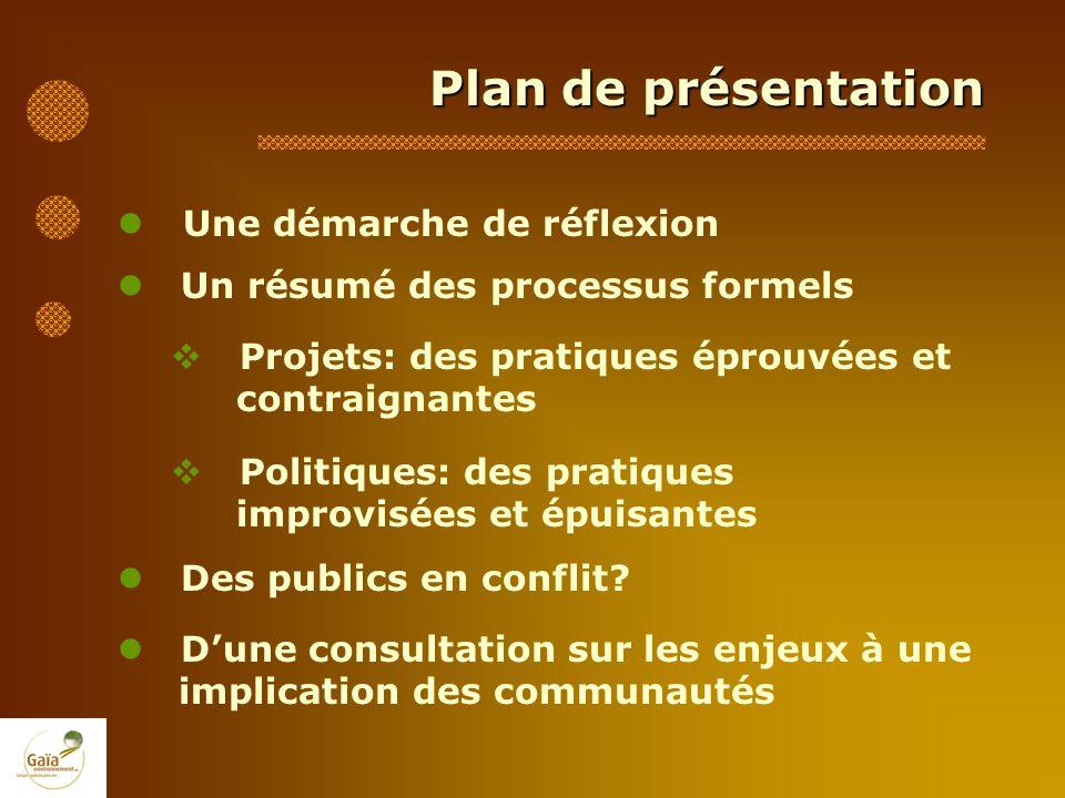 Plan de présentation Une démarche de réflexion