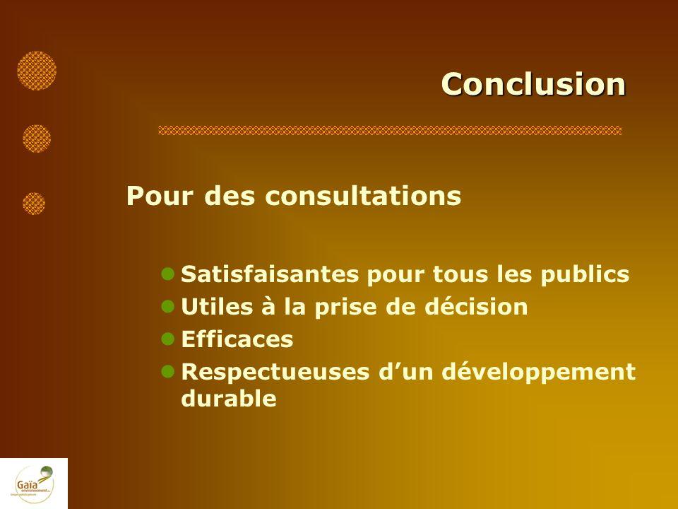Conclusion Pour des consultations Satisfaisantes pour tous les publics