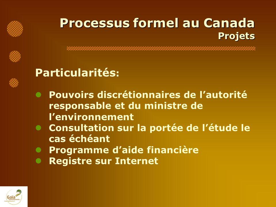 Processus formel au Canada Projets