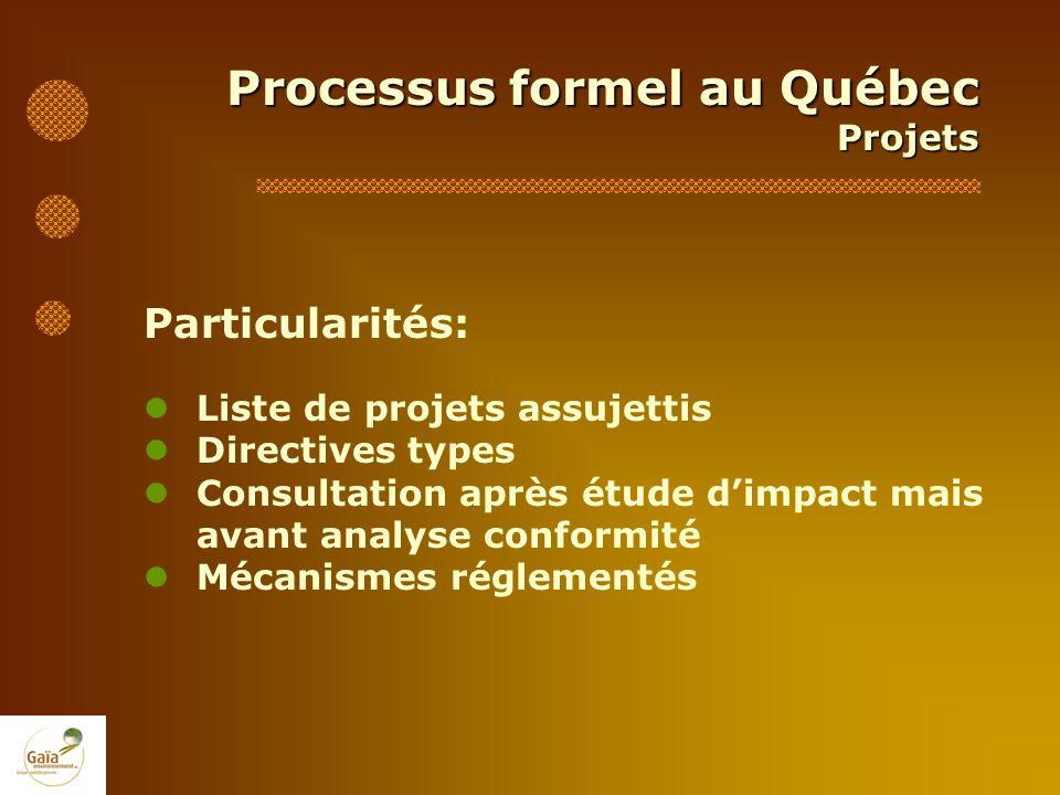 Processus formel au Québec Projets