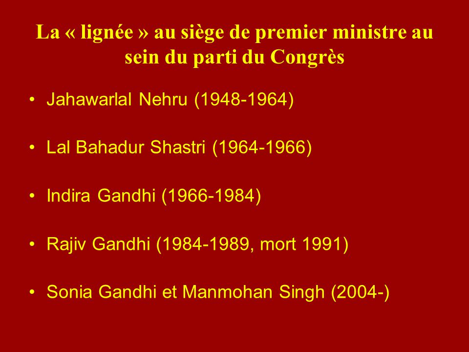 La « lignée » au siège de premier ministre au sein du parti du Congrès