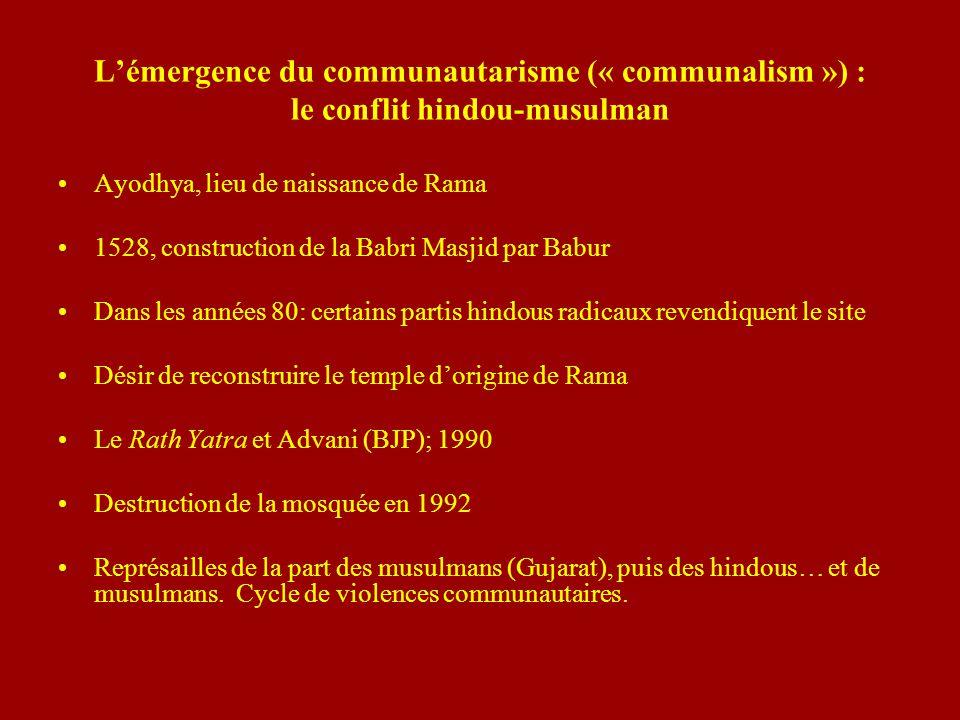 L'émergence du communautarisme (« communalism ») : le conflit hindou-musulman