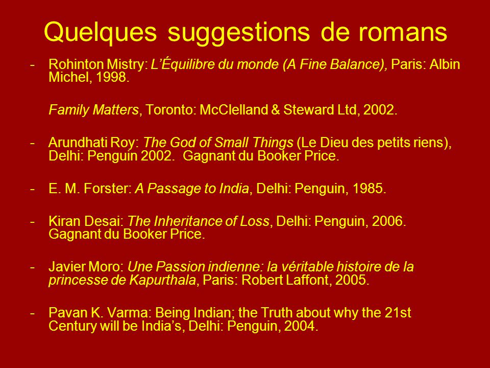 Quelques suggestions de romans